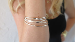 Silver Bloom Bangles