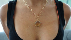 Beer Quartz on Gold Link Chain Necklace
