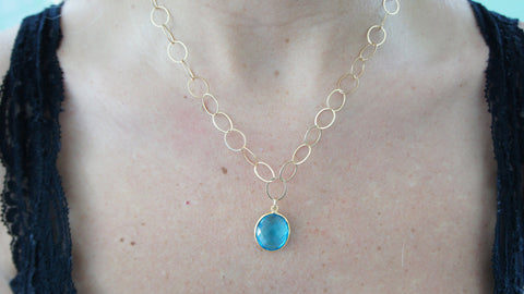 Blue Crystal Quartz on Gold Link Chain