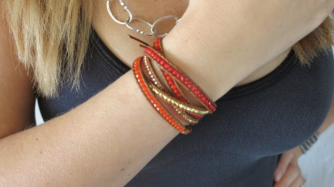 Red Coral Mix & Gold Wrap Bracelet