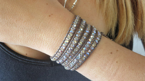 Natural Gray & Crystal Wrap Bracelet