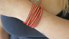 Bright Red & Gold Wrap Bracelet