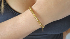 Tan Leather Gold Single Bracelet