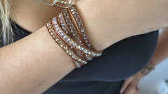 Tan Crystal Wrap Bracelet