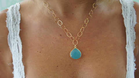 Chalcedony on Gold Link Chain
