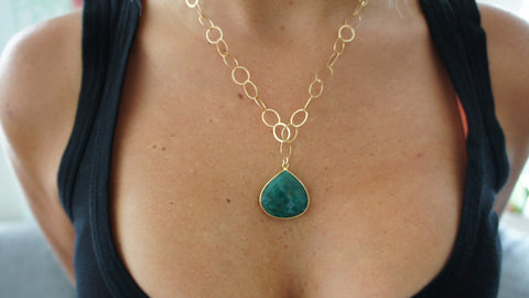 Emerald on Gold Link Chain