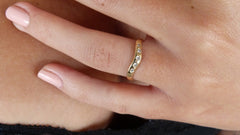 Gold & Diamond Curved Ring