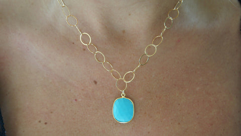 Howlite on Gold Link Chain