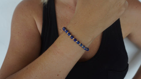 Lapis & Gold Beaded Bracelet