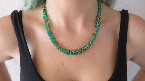 Green Onyx Rope Necklace