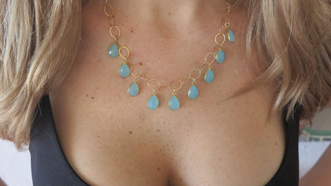 Chalcedony Teardrops on Gold Link Chain