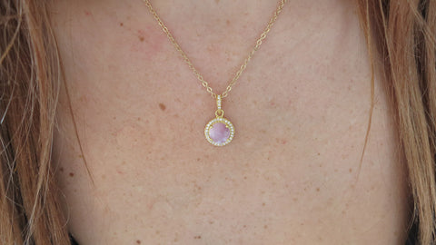 Pink Sapphire and Pavé Crystal Pendant Necklace