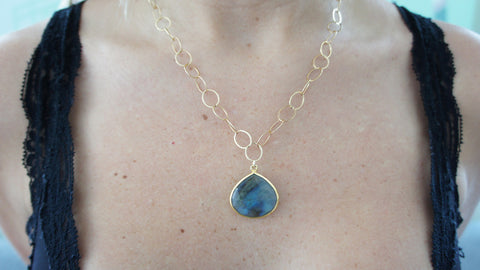 Labradorite on Gold Link Chain