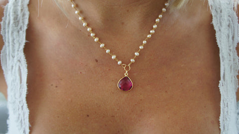 Pink Quartz on Pearl and Gold Chain
