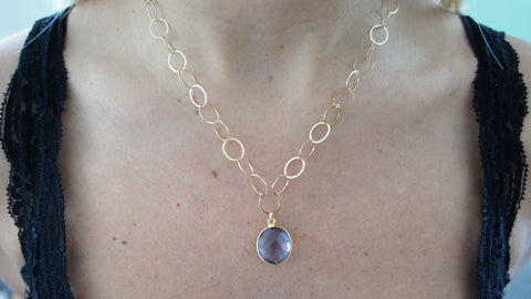 Purple Crystal Quartz on Gold Link Chain