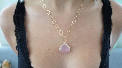 Rose Quartz on Gold Link Chain