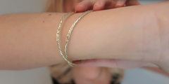 Double Twisted Gold Bangle