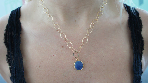 Small Sapphire Stone Necklace