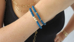 Blue Jade Beaded Bracelets (Set of 2)