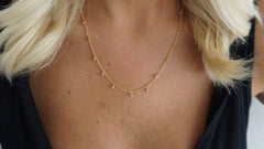 Delicate Matte Gold Drop Necklace