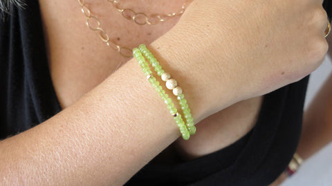 Key Lime Jade Beaded Bracelet (Set of 2)
