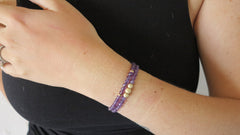 Amethyst Beaded Bracelets (Set of 2)