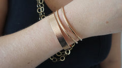 Hammered Rose Cuff Set (2 Thin, 1 Wide)