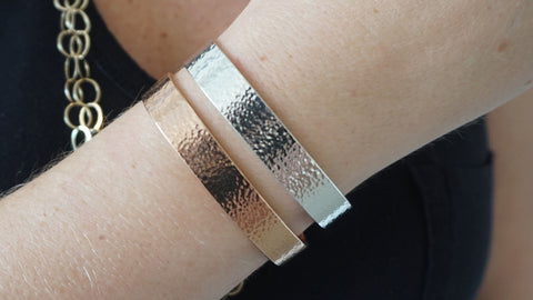 Rose & Silver Wide Hammered Cuff Set