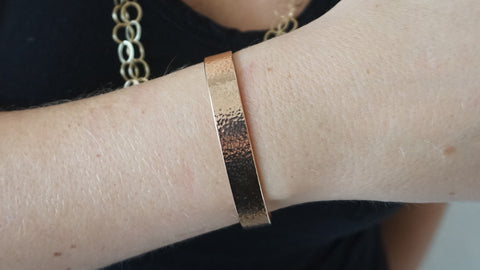 Rose Gold Wide Hammered Cuff
