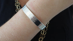 Sterling Silver Wide Hammered Cuff