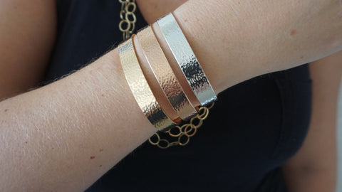Wide Hammered Cuff Set