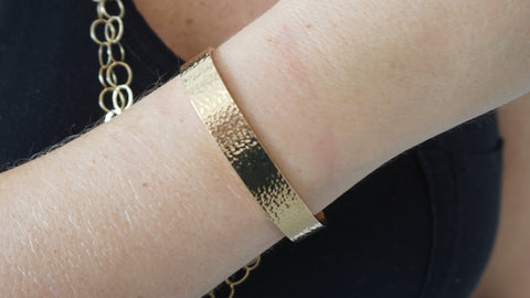 Gold Wide Hammered Cuff