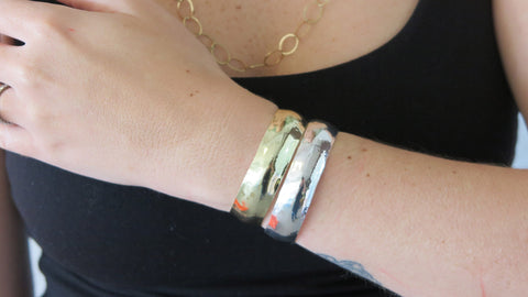 Thin Silver & Gold Hammered Cuff Set