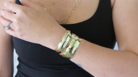 Thin/Medium Gold Hammered Cuff Set
