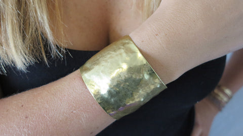 Large Gold Hammered Cuff