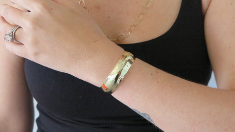 Thin Gold Hammered Cuff
