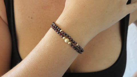 Garnet Beaded Bracelets (Set of 2)