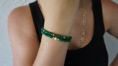 Green Jade Beaded Bracelets (Set of 2)