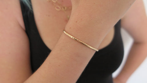 Thin Hammered Gold Fill Cuff Bracelet