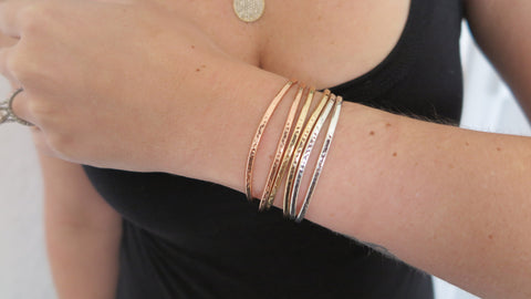 Hammered Cuff Set 2 (2 Thin Rose, 2 Thin Gold, 2 Thin Silver)