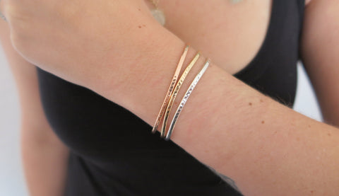 Hammered Cuff Set 1 (1 Thin Rose, 1 Thin Gold, 1 Thin Silver)