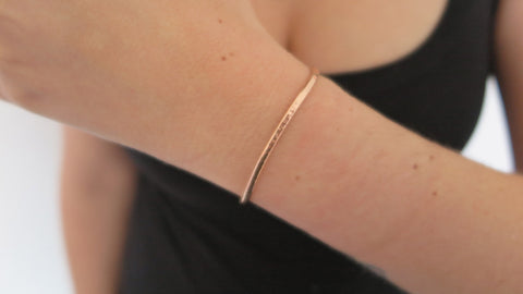 Thin Hammered Rose Gold Fill Cuff Bracelet