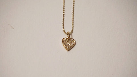 Gold & Diamond Heart Charm Necklace
