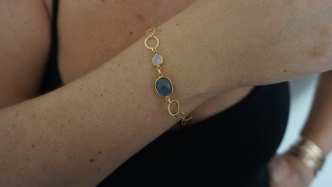 Labradorite & Moonstone on Link Chain Bracelet