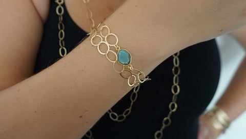 Labradorite on Link Chain Bracelet