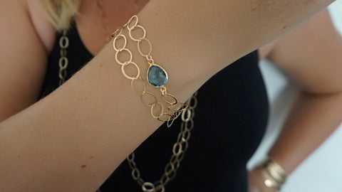 Blue Topaz on Link Chain Bracelet