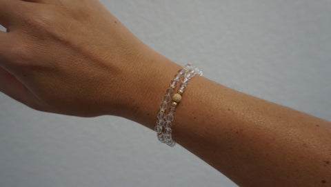 Crystal Quartz Beaded Bracelets (Set of 2)