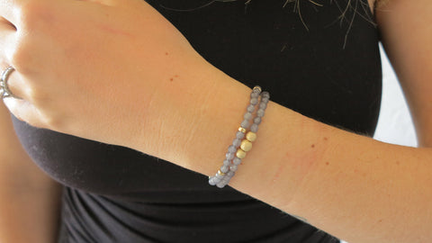 Kitty Grey Beaded Bracelets (Set of 2)