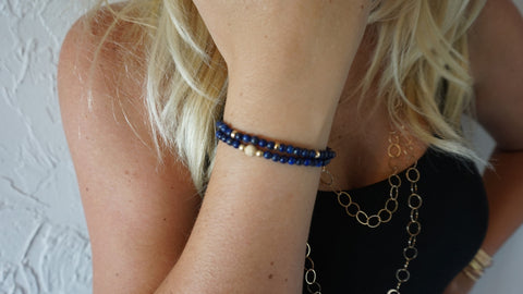 Lapis Beaded Bracelets (Set of 2)