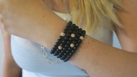 Medium Matte Black Onyx Beaded Bracelets